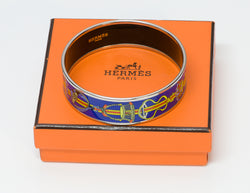 Hermes Wide Palladium Plated Chain Blue Enamel Bangle Bracelet