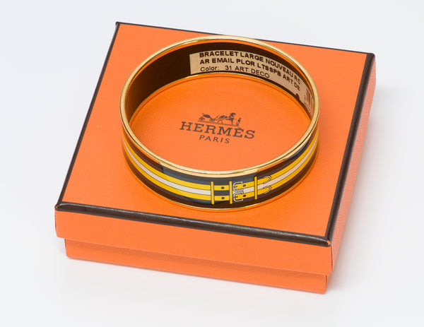 Hermes Wide 18k Gold Plated Yellow Buckle Enamel Bangle Bracelet