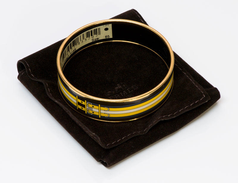 Hermes Wide Yellow Buckle Enamel Bangle Bracelet