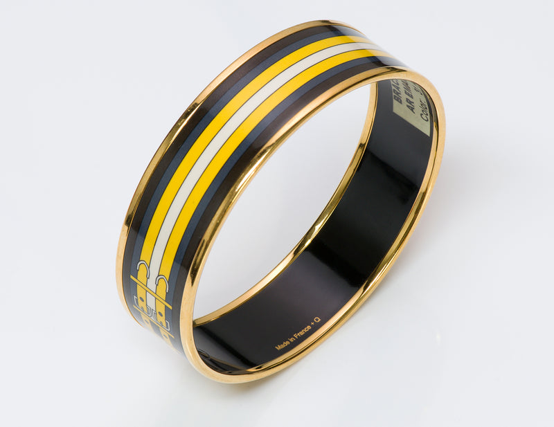 Hermes Yellow Buckle Enamel Bangle Bracelet