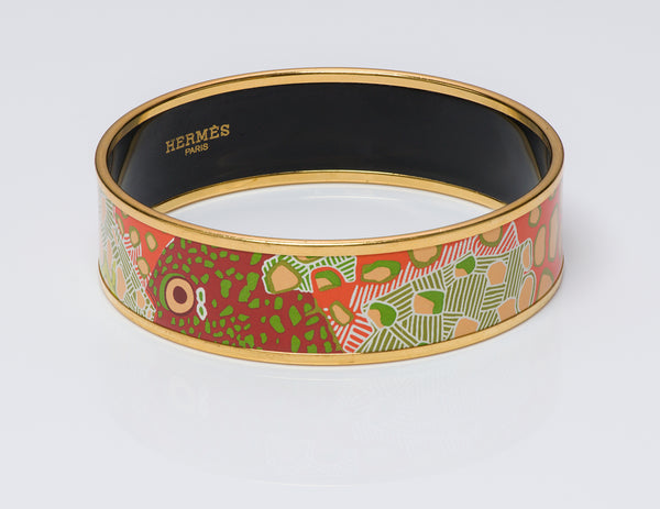 "Hermes ""Fish"" Enamel Bangle Bracelet"