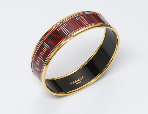 Hermes Wide Gold Plate Red Enamel Bangle Bracelet