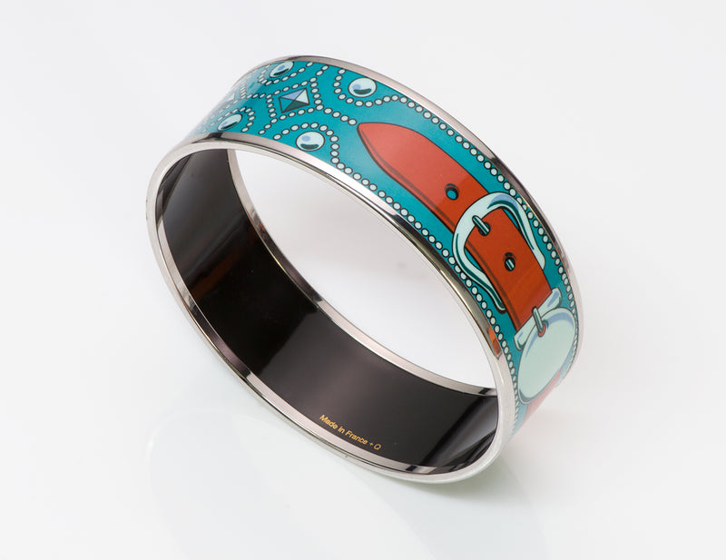 Hermes Buckle Blue Enamel Bangle Bracelet