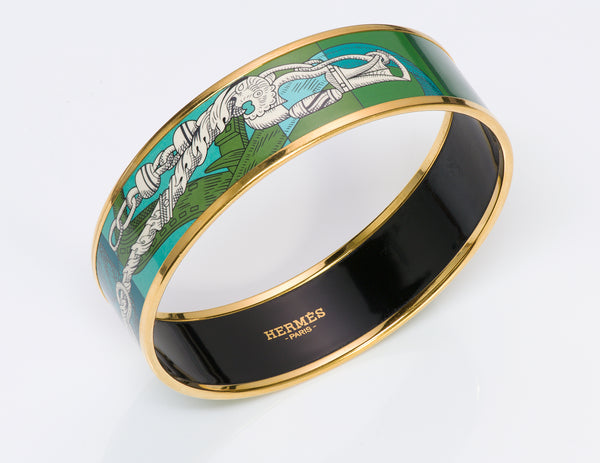 Hermes Enamel Anchor Chain Bangle Bracelet