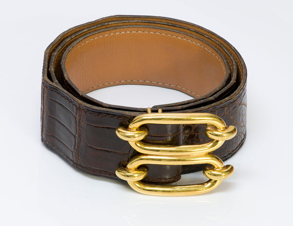 Hermès Paris Wide Brown Crocodile Chaine d'Ancre Belt