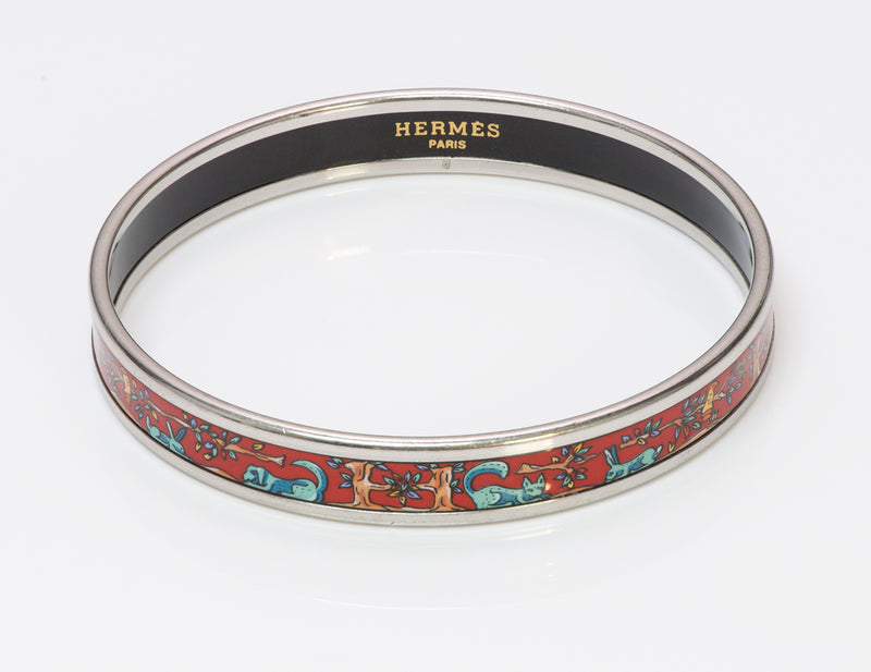Hermes Alphabet Animaux Red Enamel Bangle Bracelet