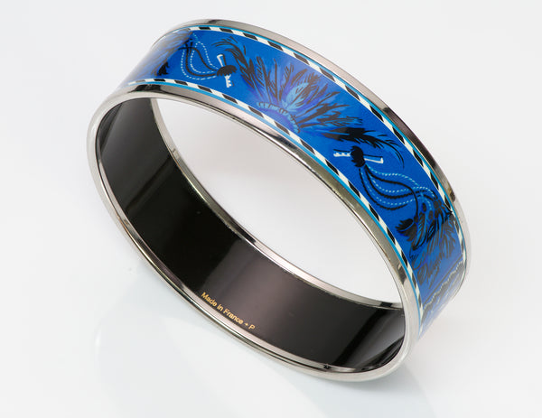 HERMES Brazil Palladium Blue Enamel Bangle Bracelet