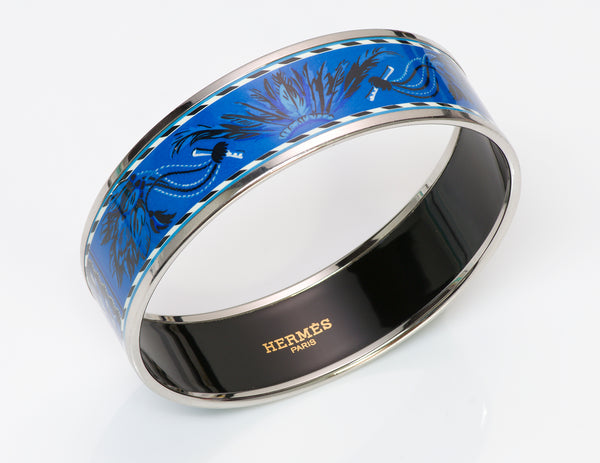 HERMES Brazil Palladium Plated Blue Enamel Bangle Bracelet