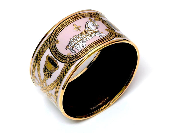 "Hermès ""Grand Apparat"" Pink Enamel Horse Bangle Bracelet"