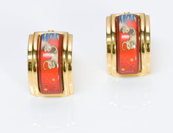 Hermes 18K Gold Plated Red Enamel Elephant Earrings