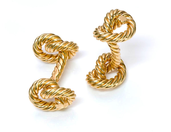 Hermès 18K Gold Twisted Rope Knot Cufflinks