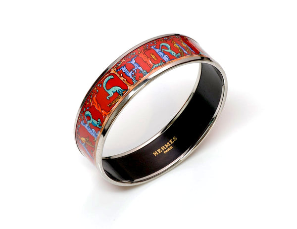 Hermès Wide Letter Red Enamel Bangle Bracelet
