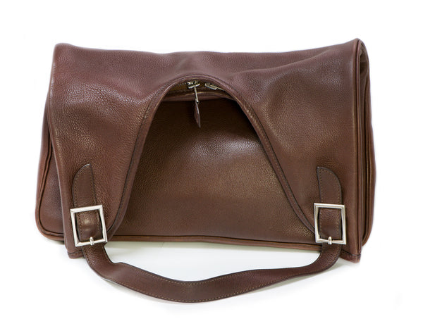 HERMES Massai Brown Clemence Leather Bag