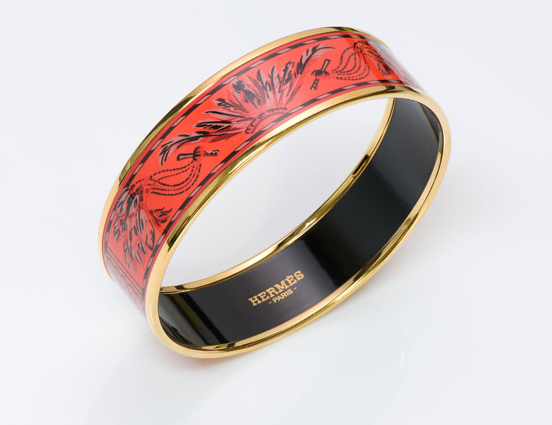 Hermes Wide Brazil Enamel Bangle Bracelet