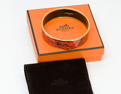 Hermes Wide Brazil Gold Plated Enamel Bangle Bracelet