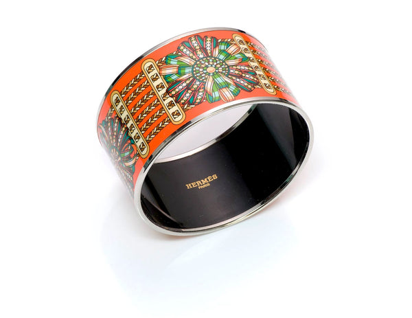 Hermès Wide Ribbons Enamel Bangle Bracelet