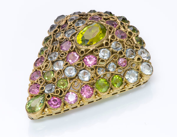 Hobe 1940's Filigree Pink Green Blue Crystal Pin Brooch