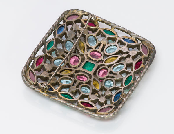 Hobe 1940's Multi Color Crystal Brooch
