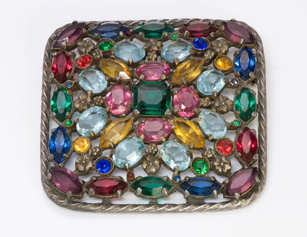 Vintage Hobe 1940's Multi Color Crystal Brooch