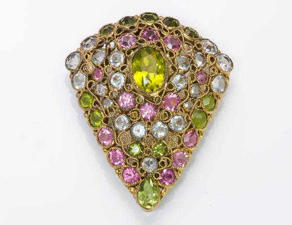 Hobe Filigree Pink Green Blue Crystal Pin Brooch