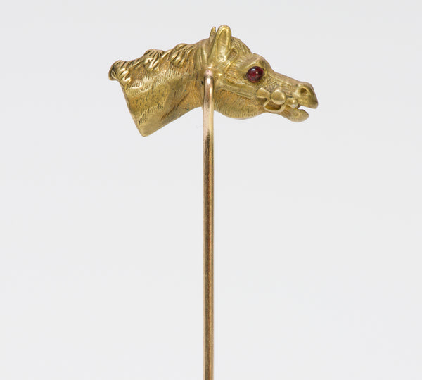 Antique Gold Ruby Horse Stick Pin
