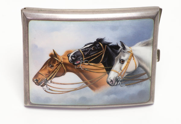 Horse Antique Silver Enamel Cigarette Case