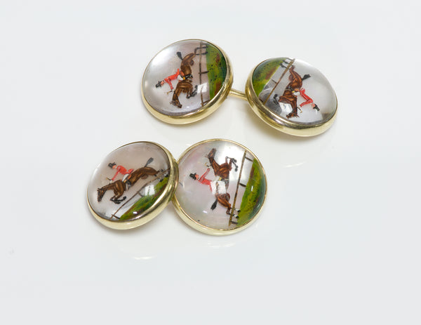 Antique Reverse Crystal Horse Gold Cufflinks