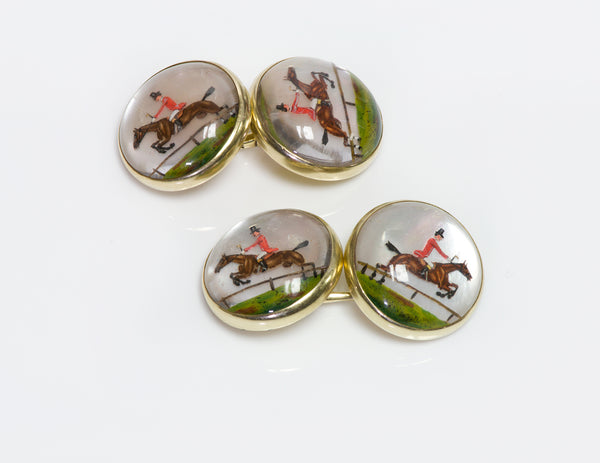 Antique Gold Reverse Crystal Horse Cufflinks