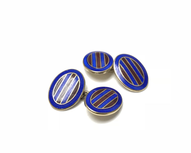 Deakin and Francis Sterling Silver and Enamel Cufflinks