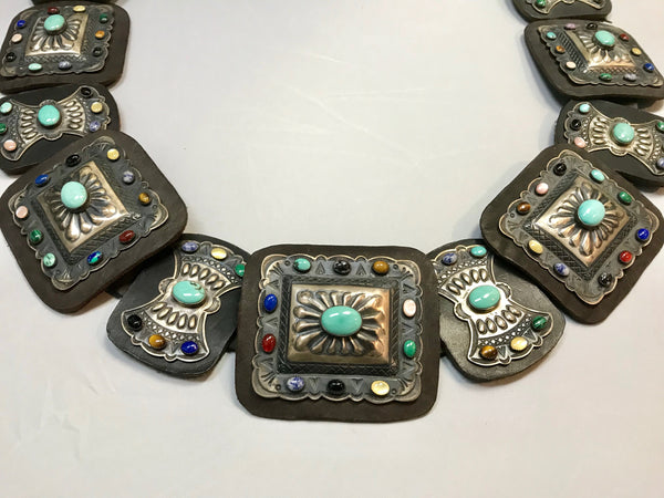 Kirk Smith Navajo Sterling Silver Semi-Precious Stone Concho Belt