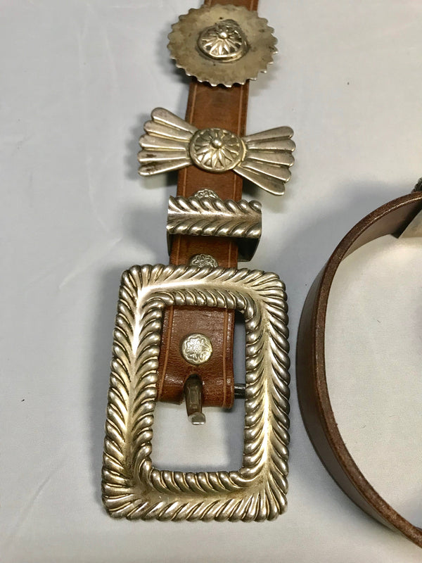 Arnold Goldstein, Sterling Silver, Concho, Brown Belt