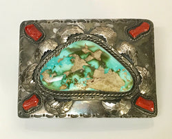 American Indian Silver Coral Turquoise Belt Buckle