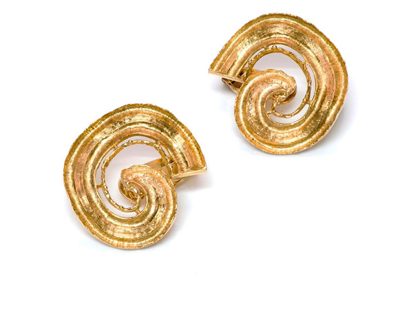 Ilias Lalaounis 18K Gold Swirl Earrings