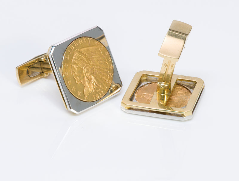 22K Gold Indian Coin Cufflinks & 18K Gold