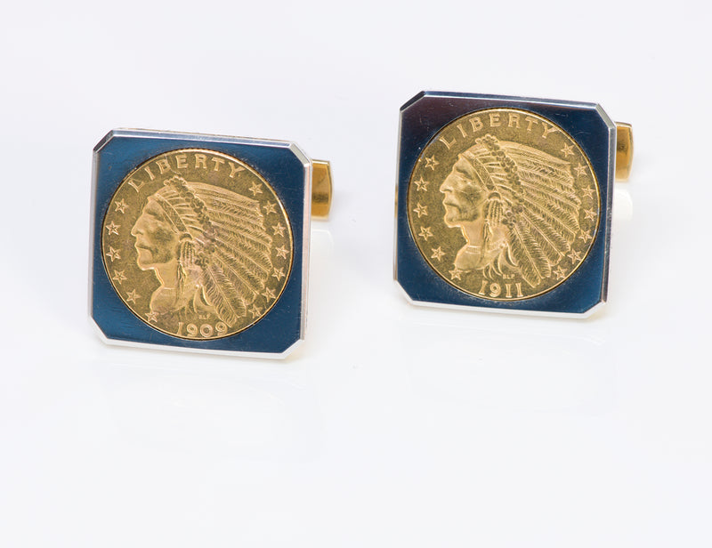 Vintage 22K Gold Indian Coin Cufflinks