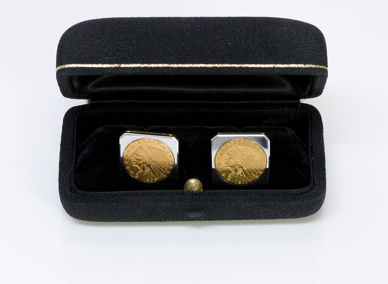 22K Gold Indian Coin Cufflinks Vintage