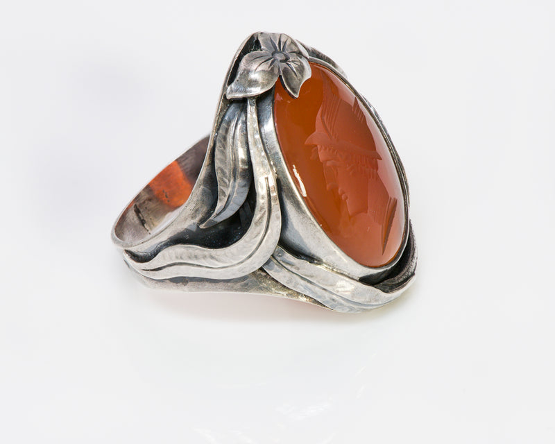 Antique Arts & Crafts Carnelian Intaglio Snake Ring