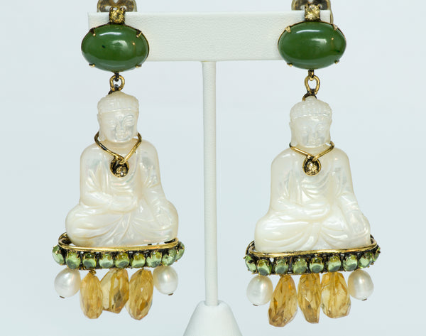 Iradj Moini Jade Mother of Pearl Buddha Earrings