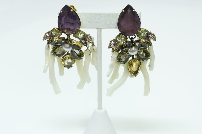 Iradj Moini White Coral Amethyst Earrings