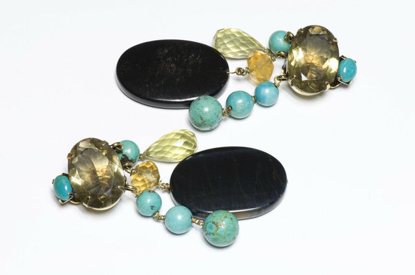 Iradj Moini Briolette Citrine Turquoise Onyx Earrings