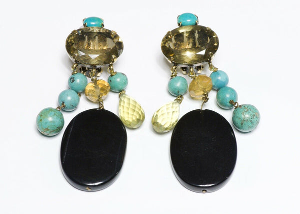 Iradj Moini Long Briolette Citrine Turquoise Onyx Earrings