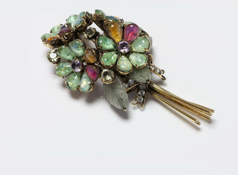 Iradj Moini Poured Glass Agate Flower Bouquet Brooch