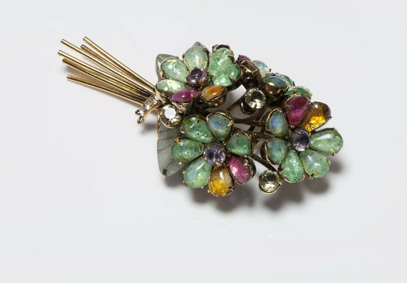 Iradj Moini Poured Glass Agate Carved Leaf Bouquet Brooch