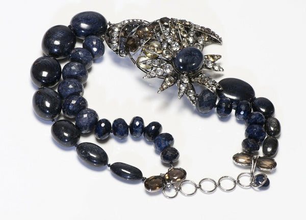 Iradj Moini Sapphire Lapis Beads Flower Convertible Bracelet Brooch Necklace