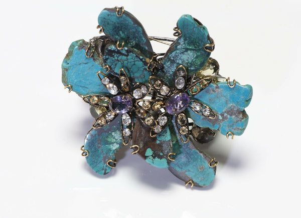 Iradj Moini Turquoise Amethyst Citrine Flower Convertible Brooch Cuff Bracelet