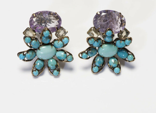 Iradj Moini Turquoise Amethyst Flower Earrings