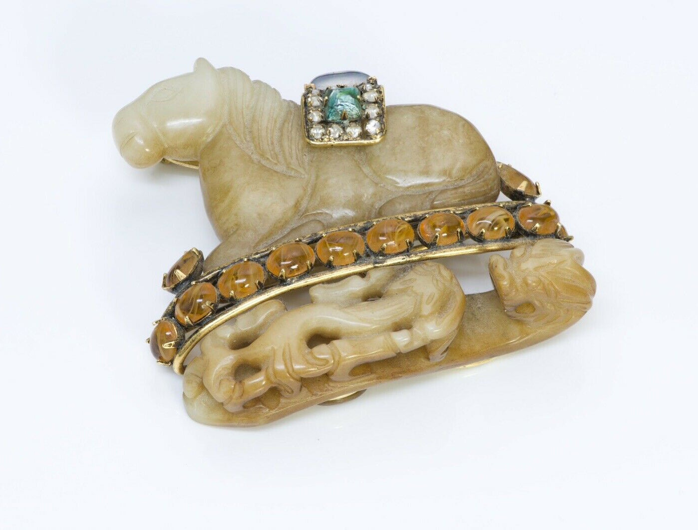 Iradj Moini Asian Style Horse Carved Agate Brooch