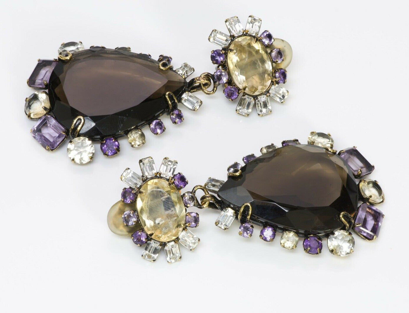 Iradj Moini Long Amethyst Citrine Flower Earrings