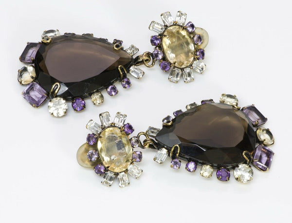 Iradj Moini Long Amethyst Citrine Flower Earrings 2