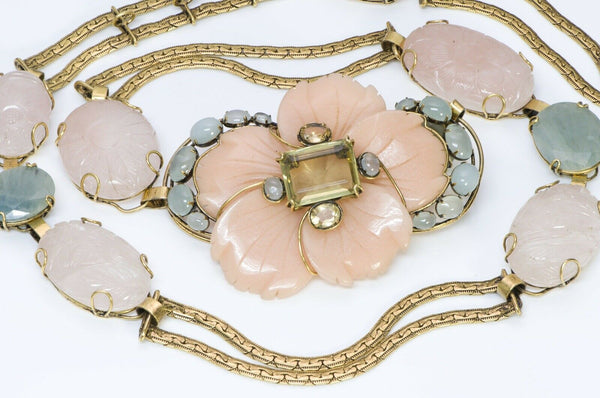 Iradj Moini Wide Pink Agate Flower Chain Belt
